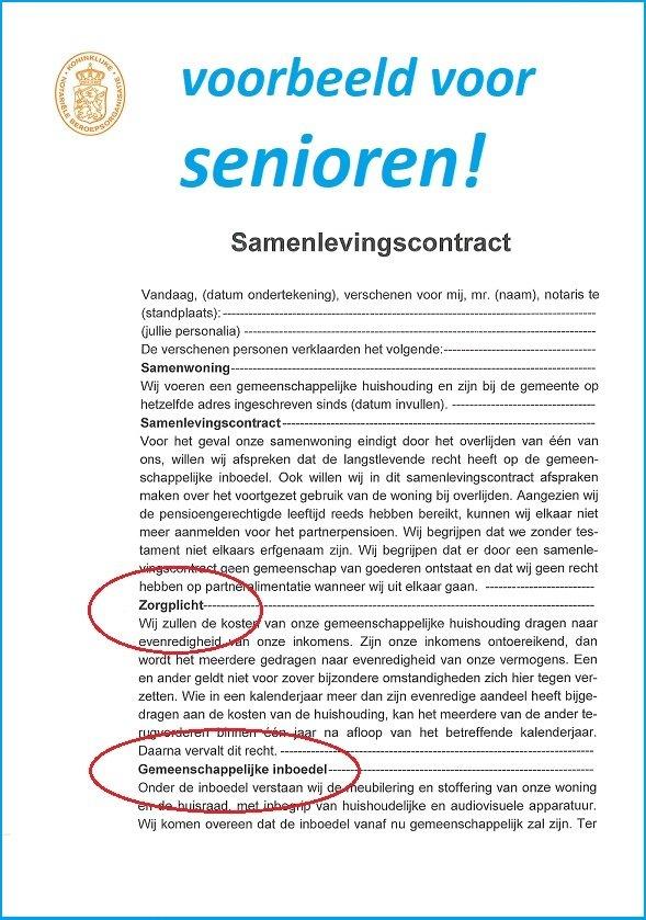 samenlevingscontract voor ouderen