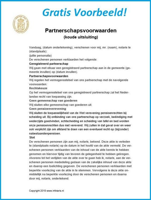 partnerschapsvoorwaarden voorbeeld