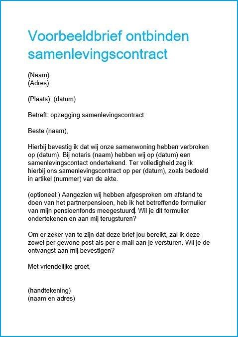 samenlevingscontract ontbinden aangetekende brief