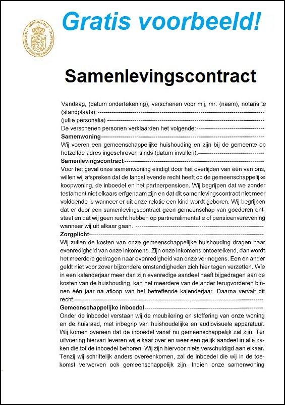 samenlevingscontract voorbeeld