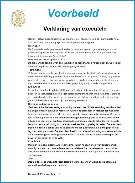 verklaring van executele voorbeeld