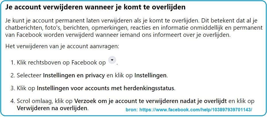 facebook account overleden persoon verwijderen
