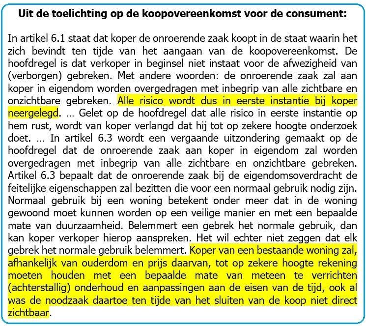 toelichting op de koopovereenkomst voor de consument